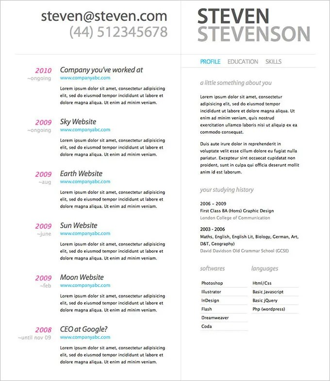 Resume Design Template PSD – 11 Free Samples Examples
