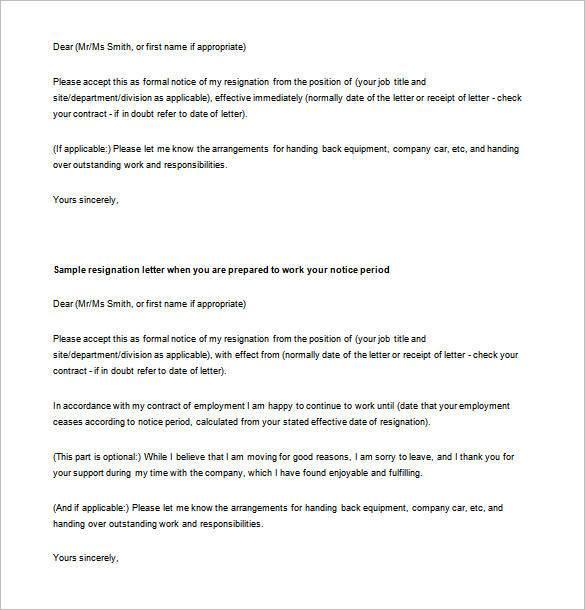 28+ Simple Resignation Letter Templates - PDF, DOC   Free & Premium ...