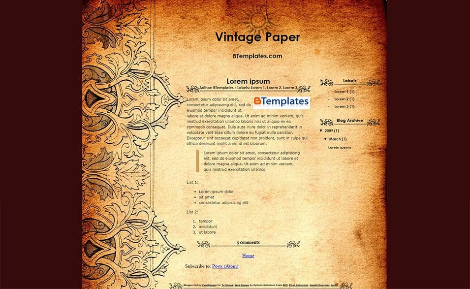 Vintage Style Blog Templates & Themes Free & Premium