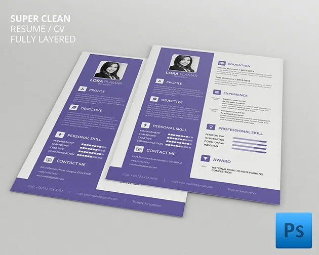 Resume Template Free Download Psd