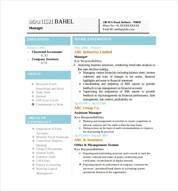 Resume Format In Word File For Accountant Sample Customer