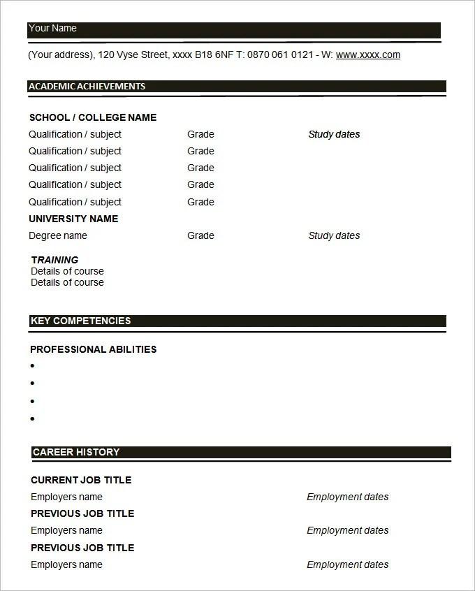 46 Blank Resume Templates  DOC PDF  Free  Premium Templates