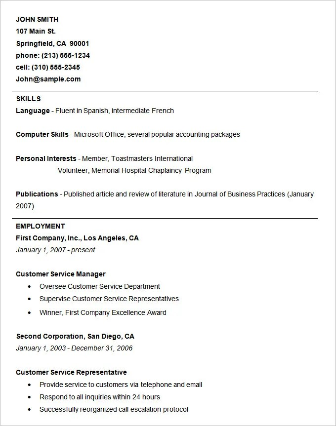 Example Of Basic Resume  Examples Of Resumes