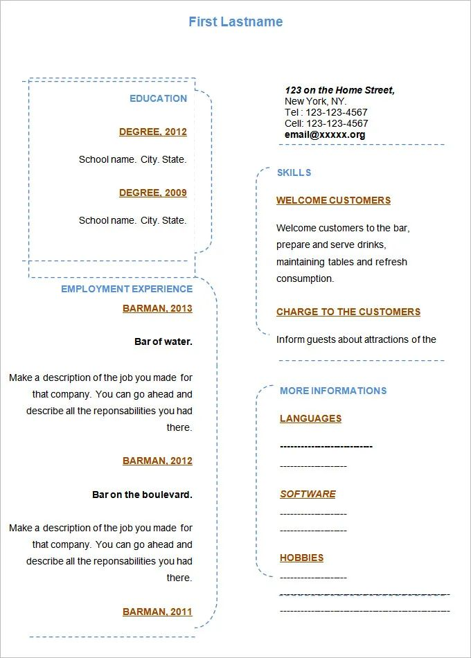 free fill in the blank resume template