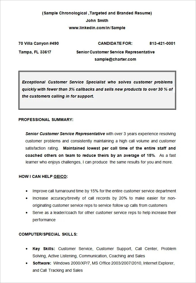 Chronological Resume Template 23 Free Samples Examples Format  Example Of A Chronological Resume