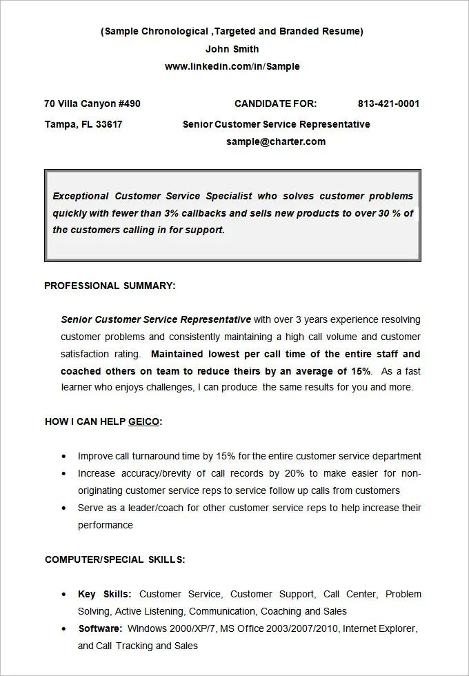chronological functional resume template