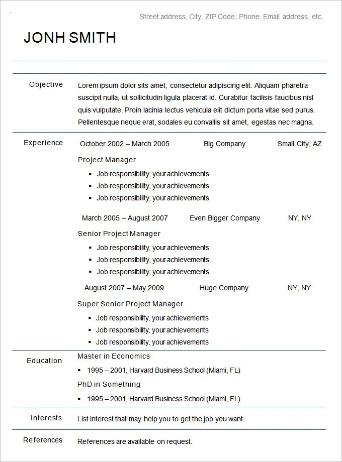 Beau Chronological Resume Format Example Chronological Resume Template