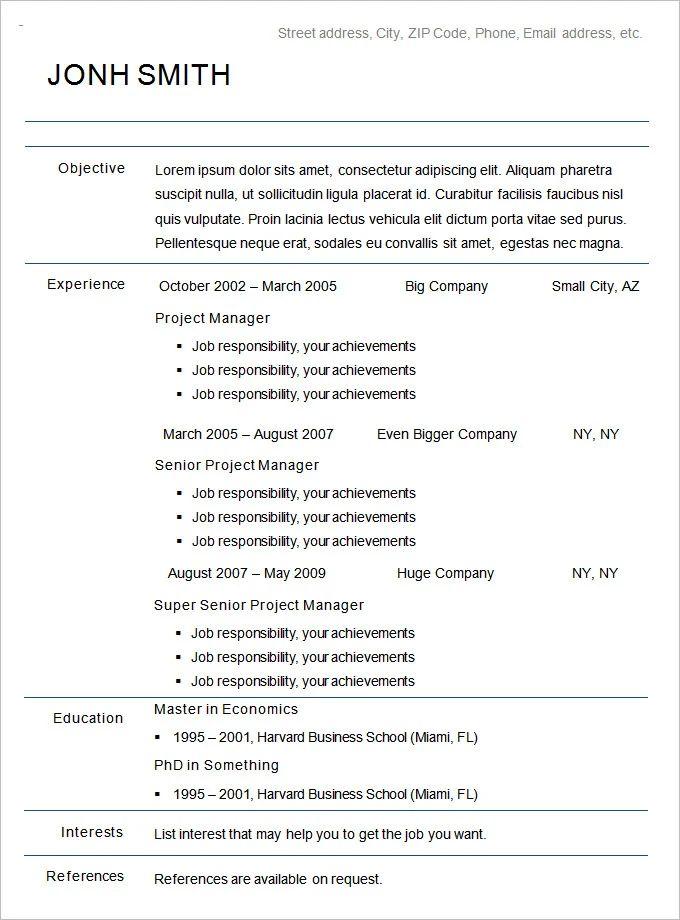 chronological resume sample canada
