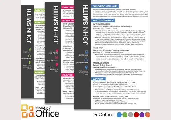contemporary resume templates word