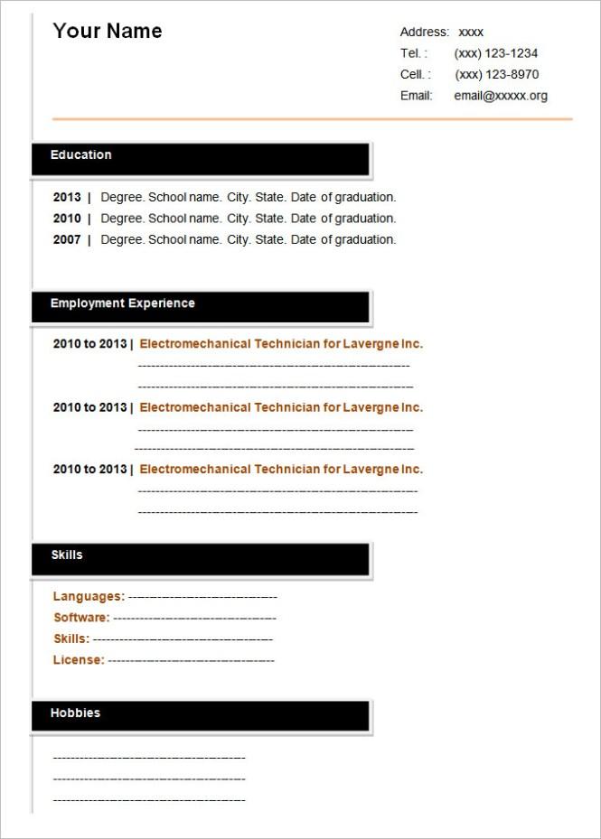 Blank Cv Templates 04052017 A Fill In