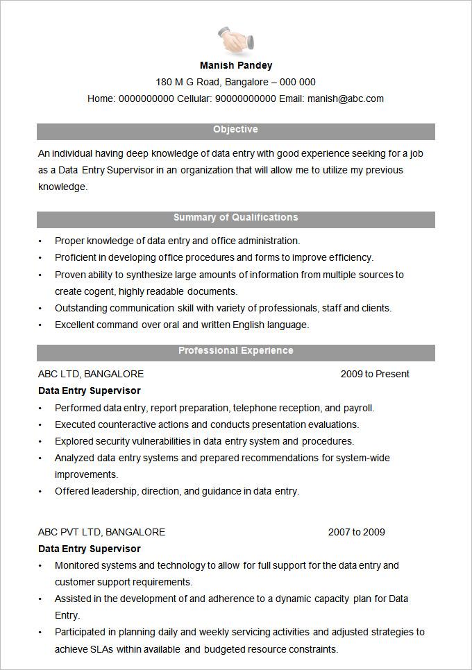 free supervisor resume examples