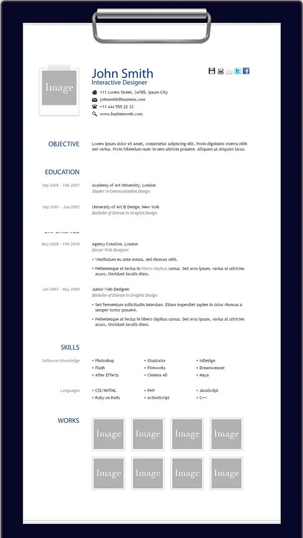 41 HTML5 Resume Templates  Free Samples Examples Format Download  Free  Premium Templates