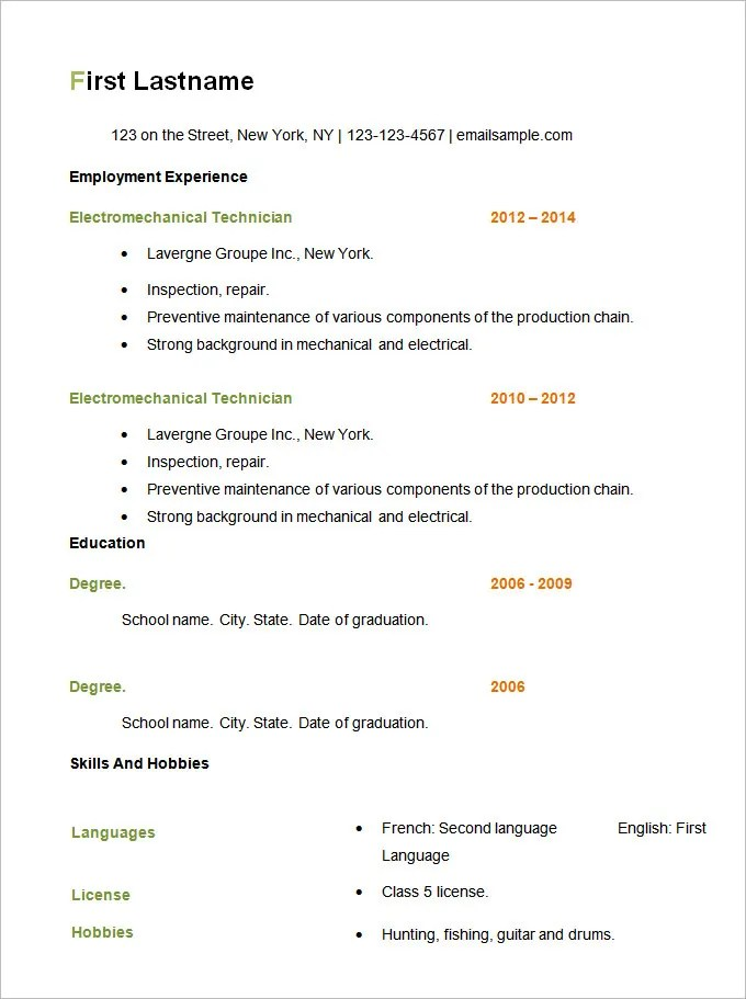 Resume Setup Example  Examples Of Resumes