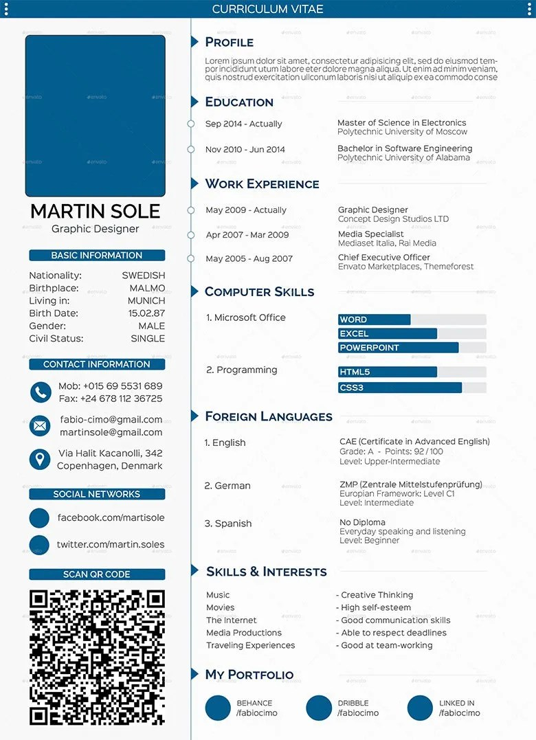 CV Templates – 61 Free Samples Examples Format Download Free