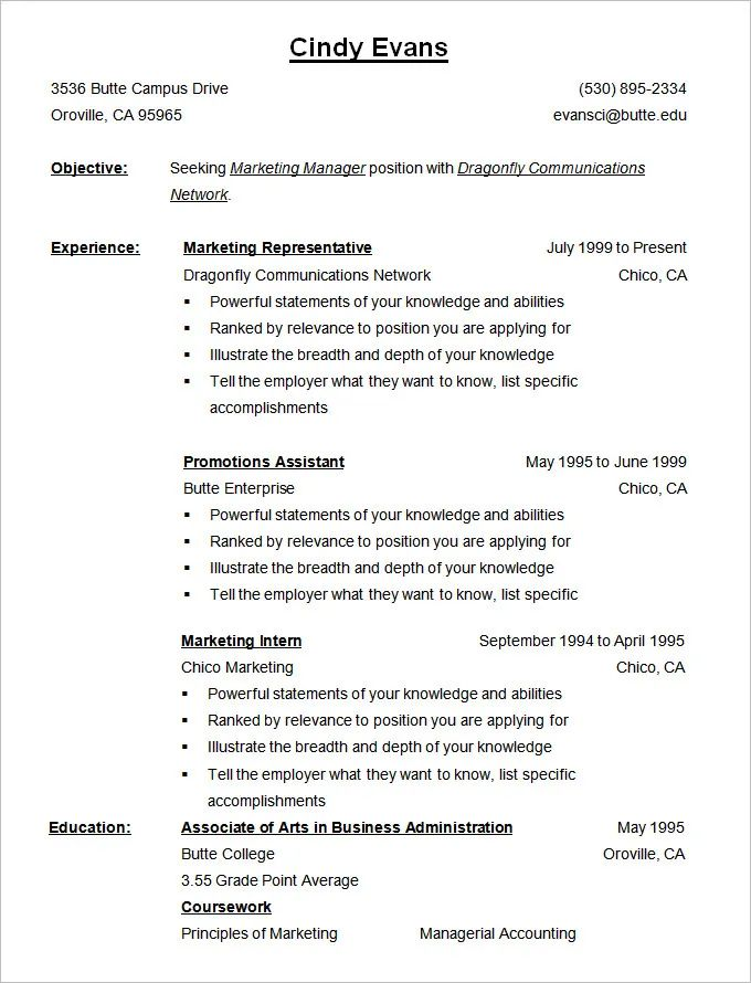 a chronological resume example