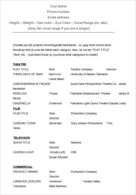 Sample Fill in Acting CV Resume Template