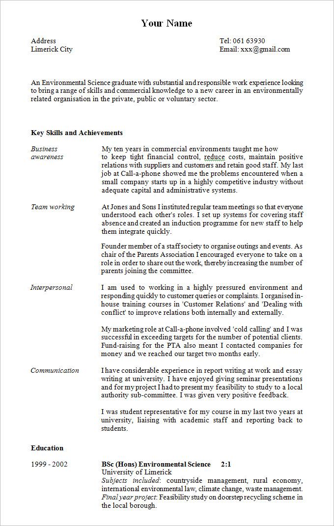 college student sample resume pdf