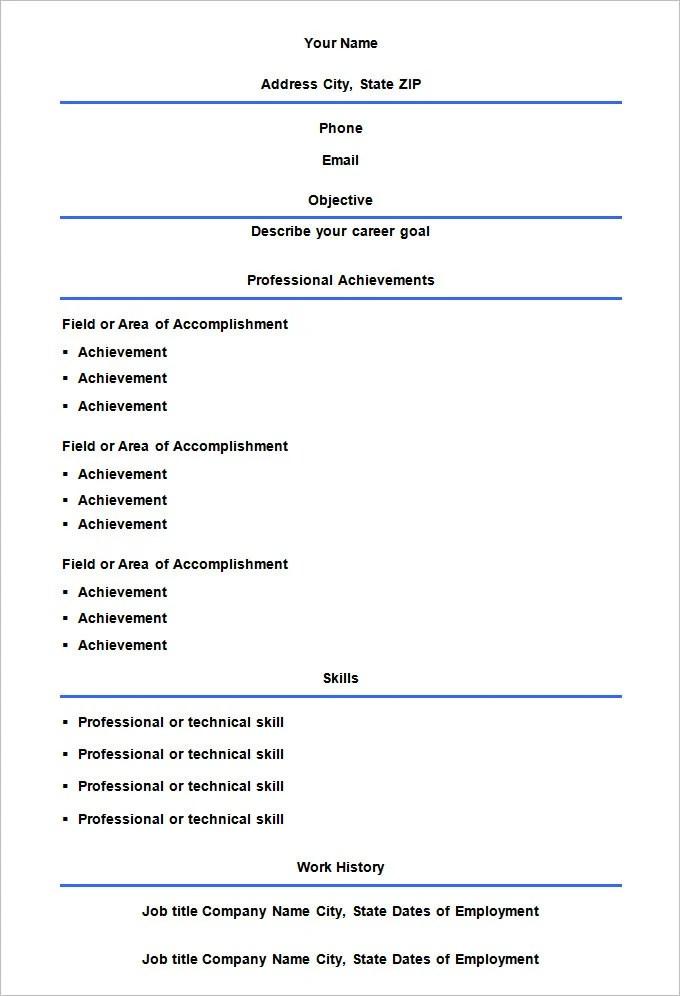 46 Blank Resume Templates DOC PDF Free & Premium