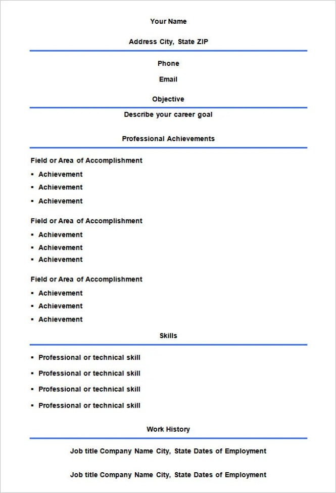 Empty Resume Template  Resume Sample