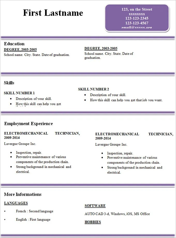 Simple Resume Template  46 Free Samples Examples Format Download  Free  Premium Templates