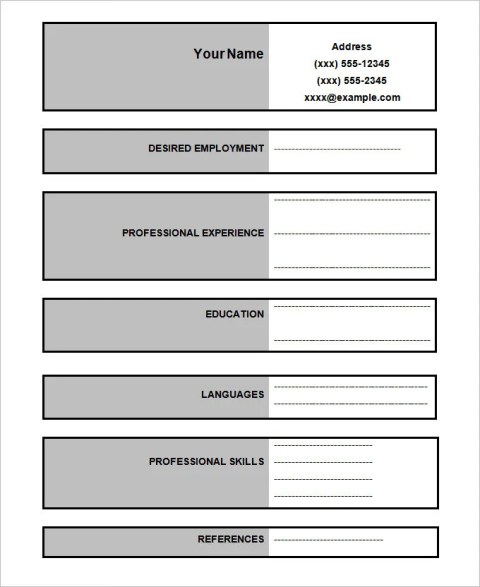 Sample Software Engineer Blank Resume Templates