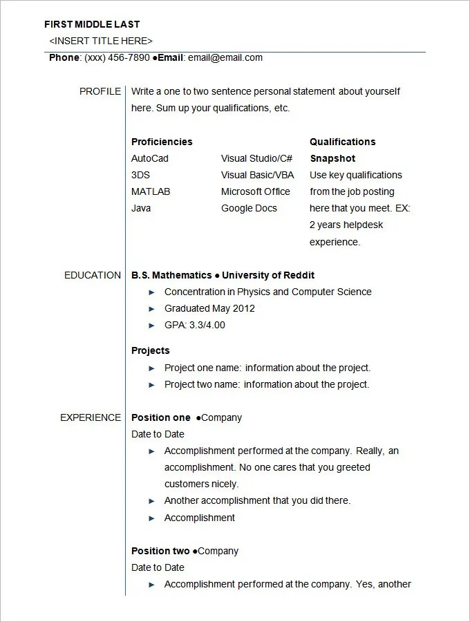 Student Resume Template – 21 Free Samples Examples Format