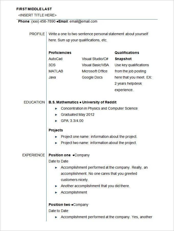 resume sample for freshers school graduate