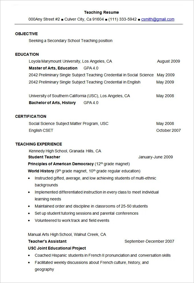 Resume Example – 34 Free Samples Examples Format