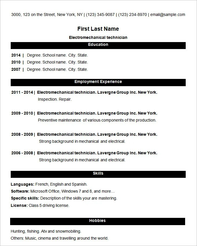 sample simple resume format sample simple resume format simple