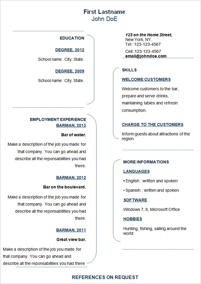 70+ Basic Resume Templates - PDF, DOC, PSD   Free & Premium Templates