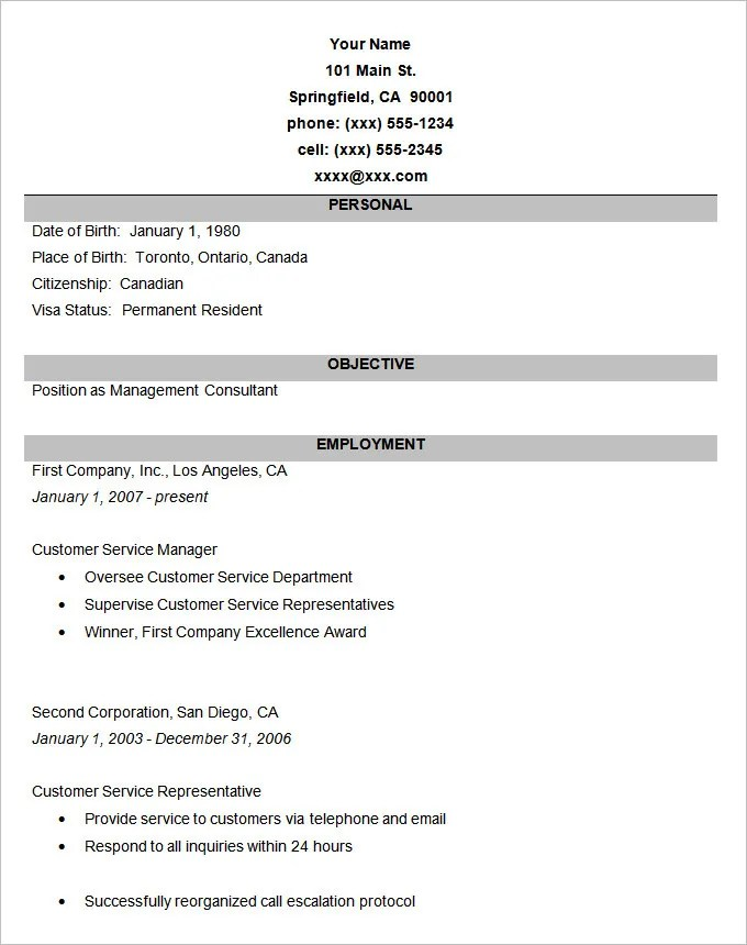 Simple Resume Template - 46+ Free Samples, Examples, Format Download ...
