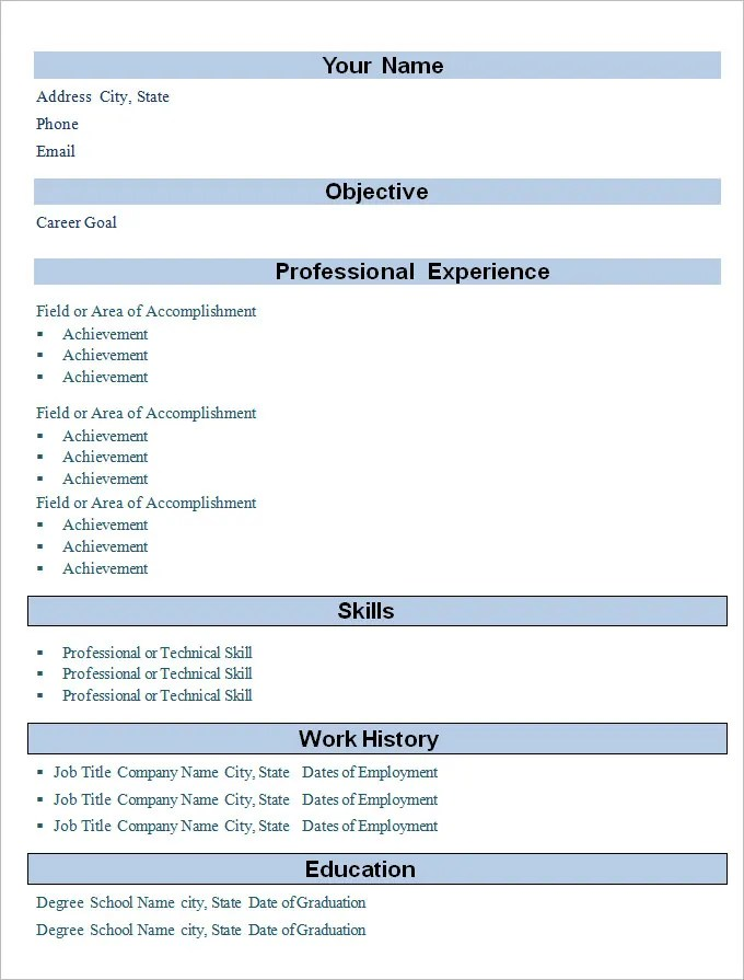 Simple Format Of Resume For Fresher