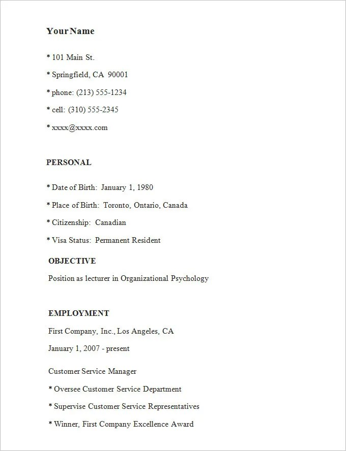 Simple Resume Template – 39 Free Samples Examples Format