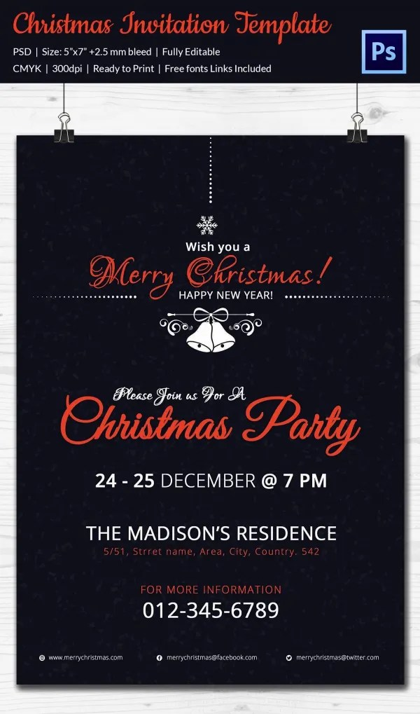 Christmas Invitation Template 27 Free PSD EPS Vector AI Word Format Download Free