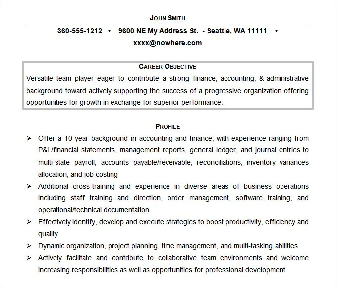 objective for a job resume