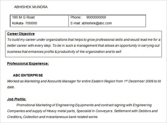 fresher resume objective examples - Marketing Resume Objectives Examples
