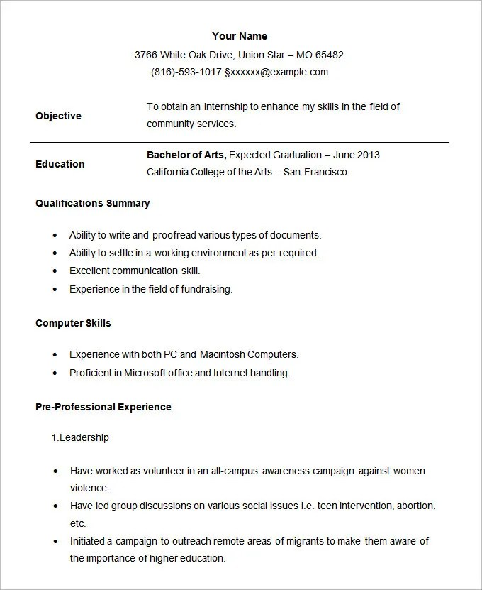 Resume Examples For Students Sample Student Internship Resume