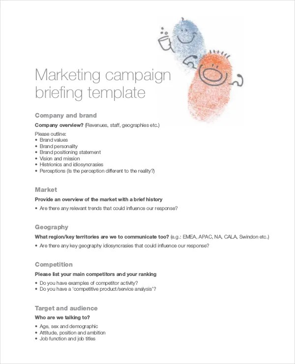 Marketing Brief Template Free Word Excel Documents