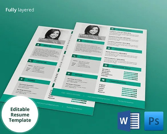 PSD Resume Template – 51 Free Samples Examples Format