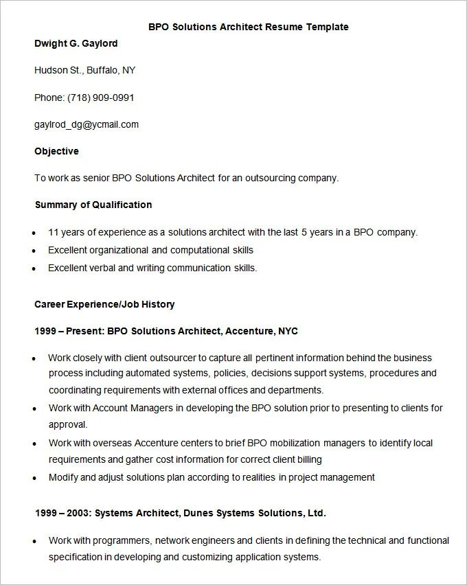 sample resume for bpo jobs