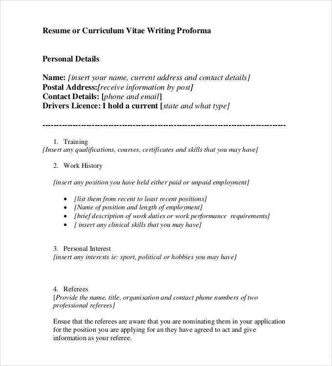 Resume Proforma Download - Resume Examples   Resume Template