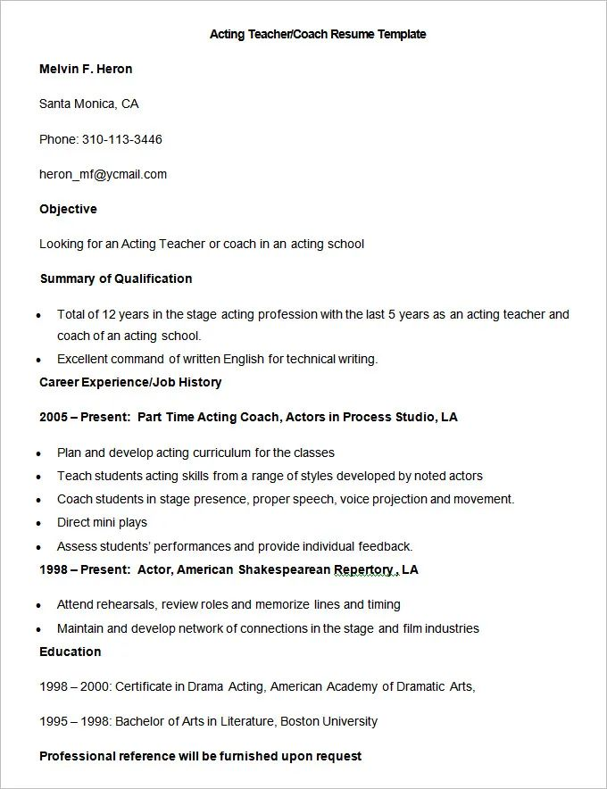 resume for teacher and coach