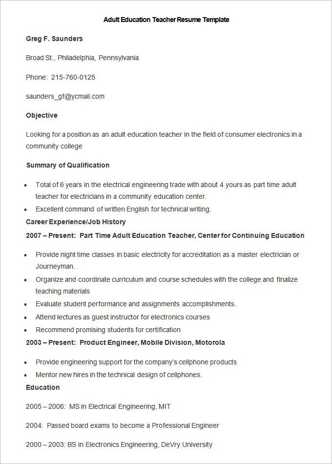 50 Teacher Resume Templates PDF DOC Free & Premium