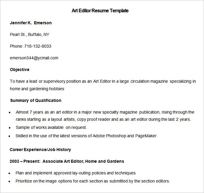 Media Resume Template – 31+ Free Samples, Examples, Format Download ...