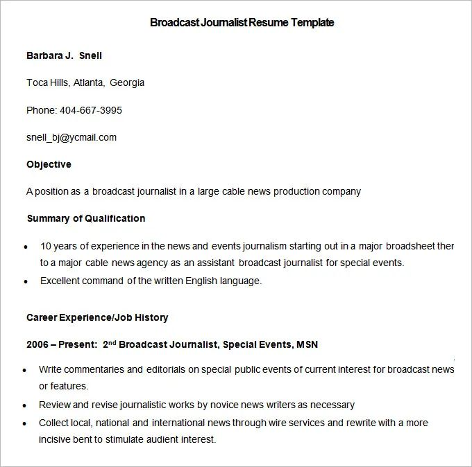 best journalism resume template