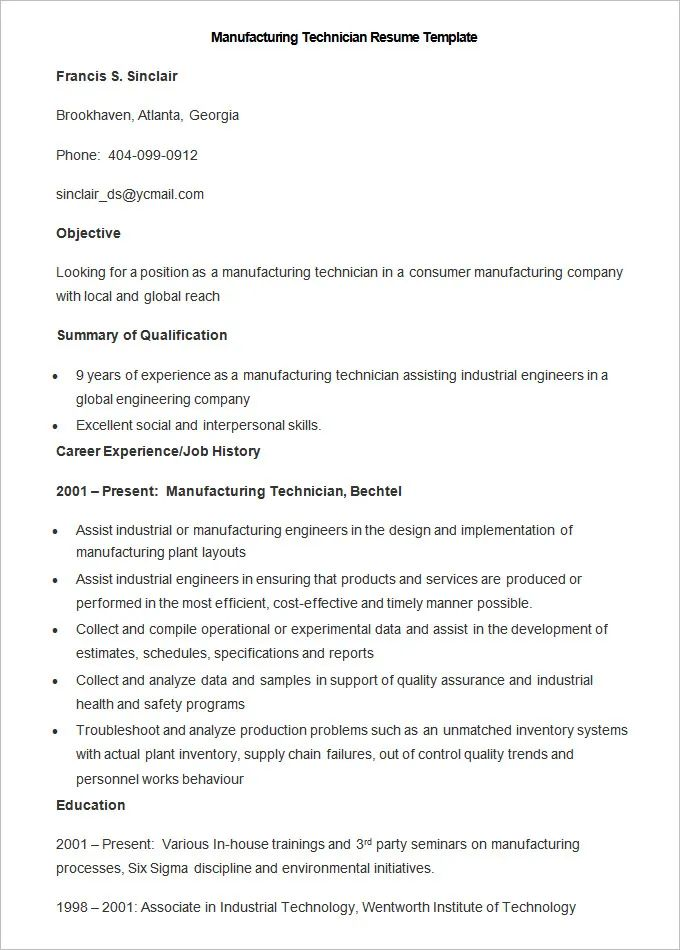 sample resume operations manager in manufacturing