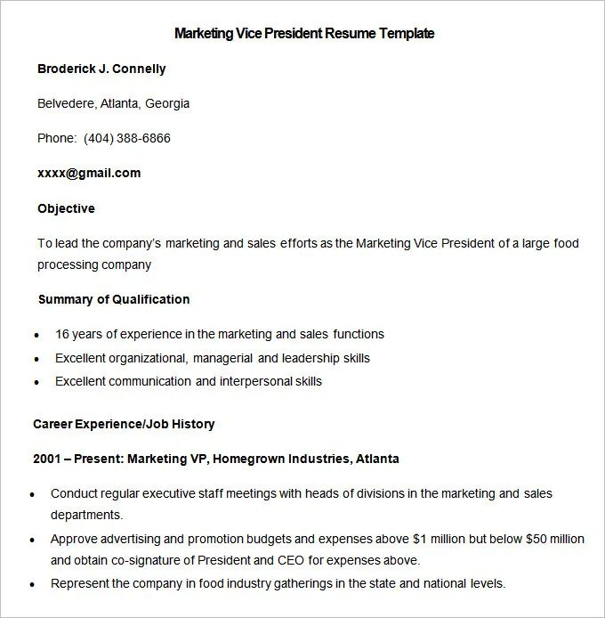 vice president resume template download