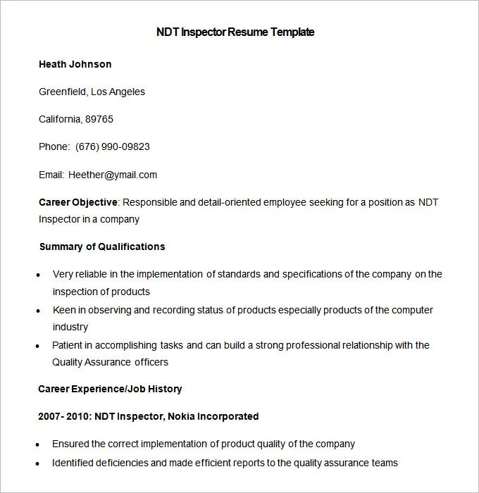 ndt resume example