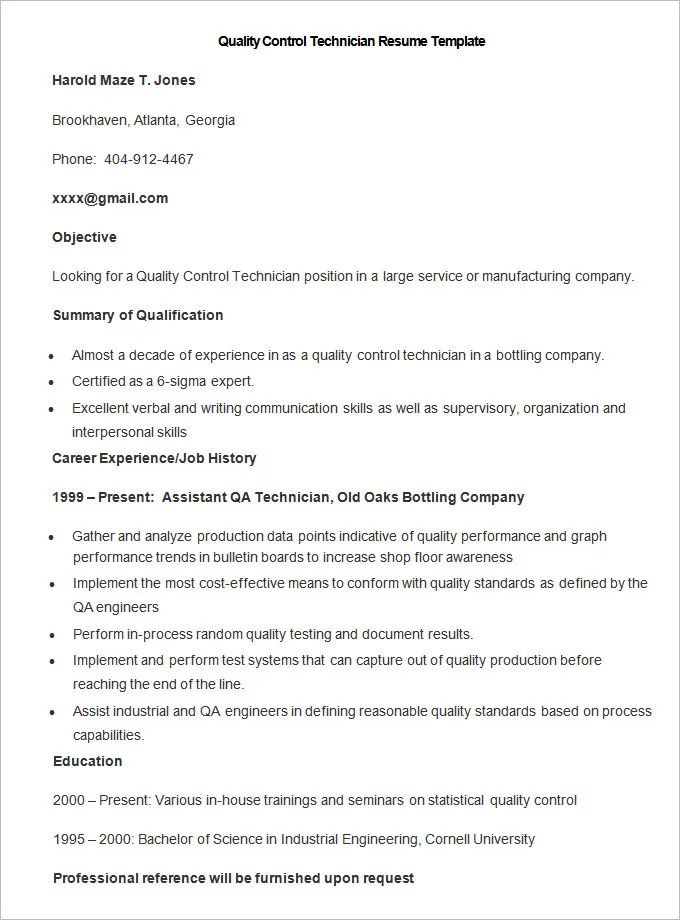 manufacturing job resume samples