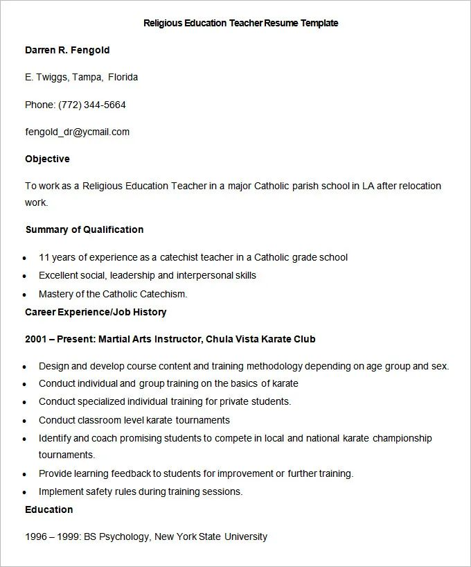 sample resumes for religious sisters